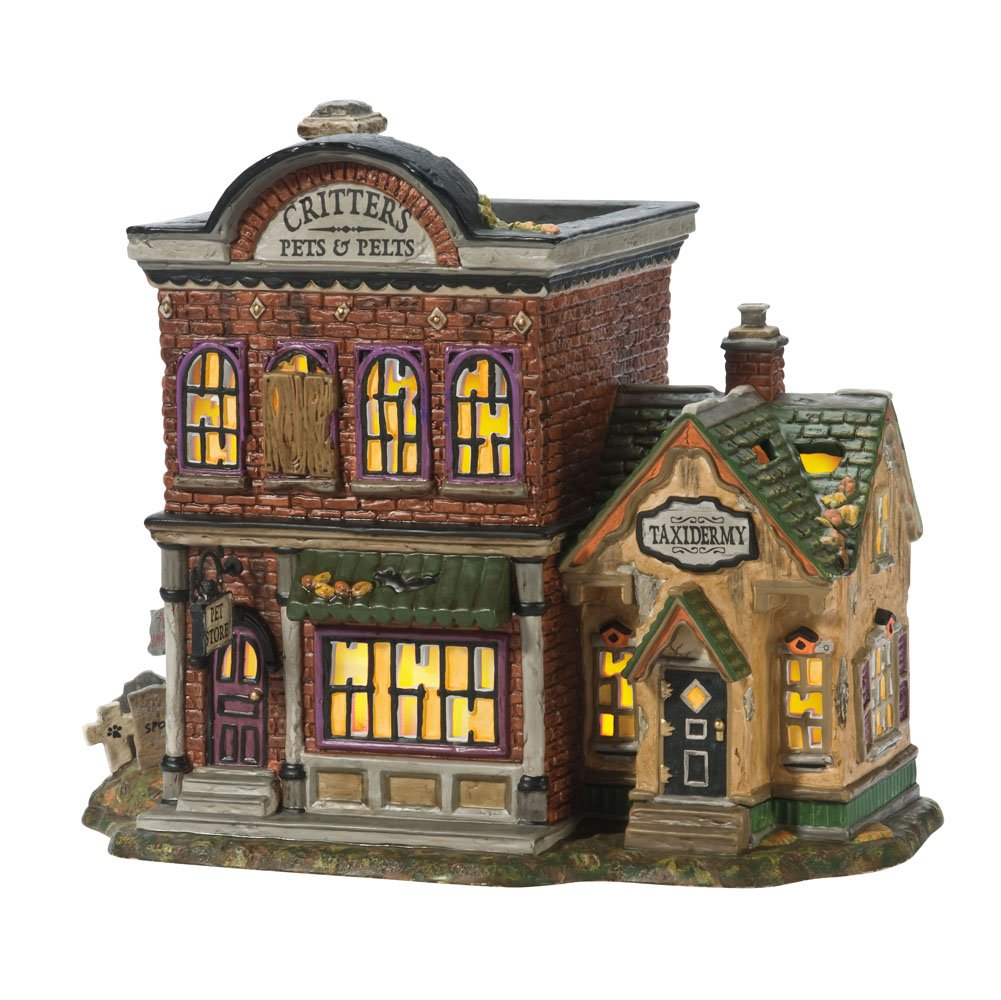Department 56 Snow Village Halloween Critter's Pets and Pelts Lit House