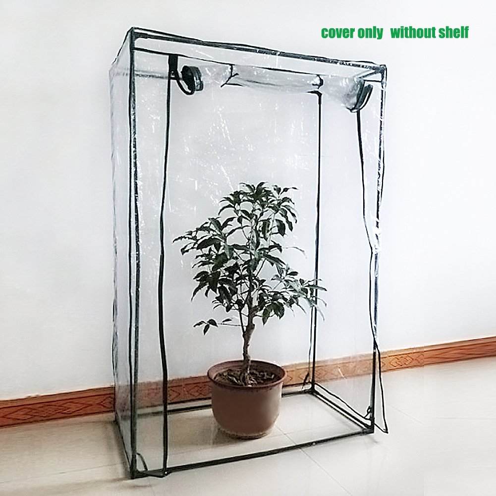 Tomato Greenhouse Cover, PE Garden Plant Protection Cover Flower Vegetable Tomato Growing Cultivation Tent with Entrance Door Zipper 30 x 20 x 60 Inch (Cover Only, Without Shelf)