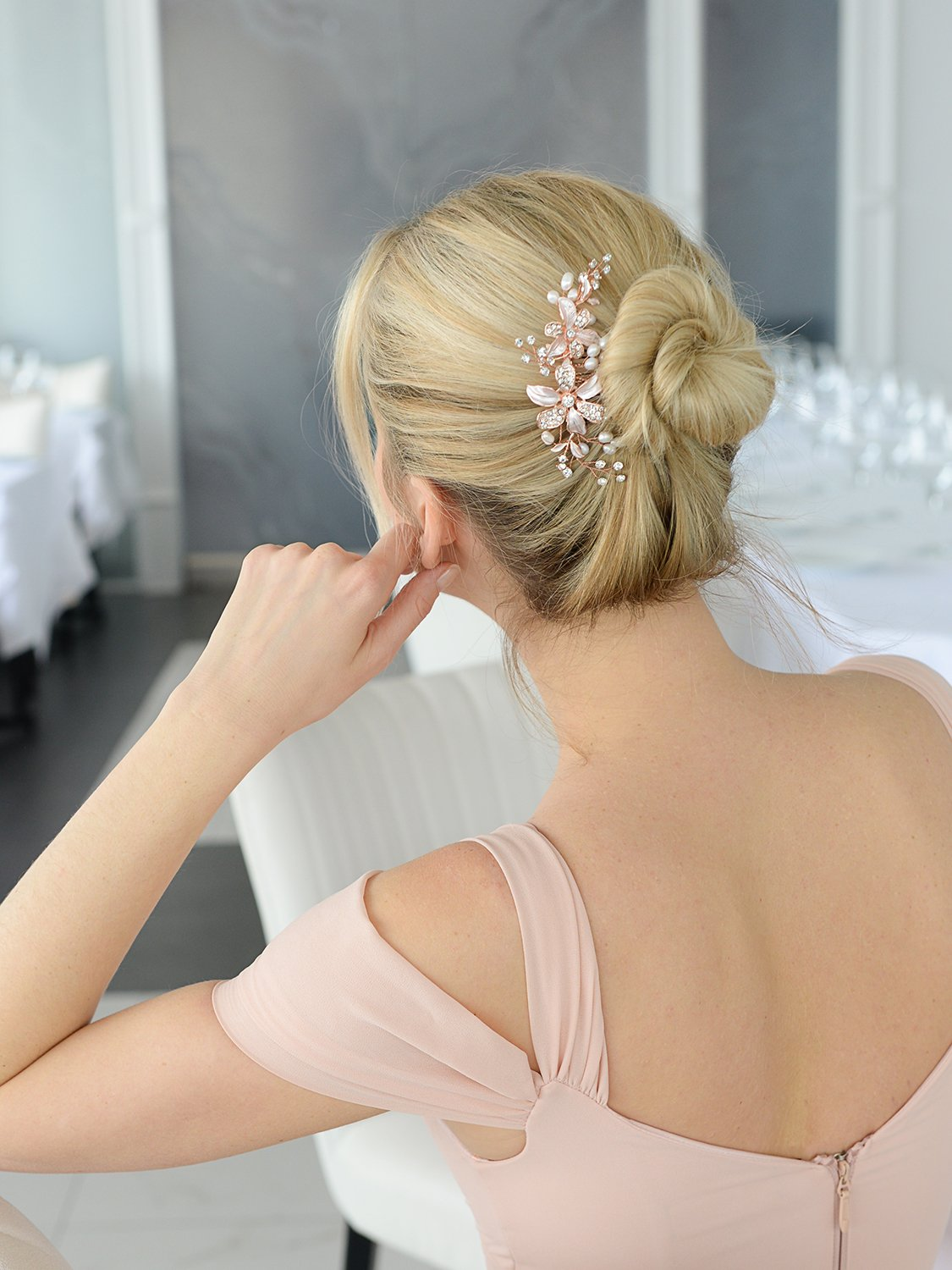 Mariell Rose Gold Bridal Comb Freshwater Pearl, Hand-Painted Enamel Leaves Austrian Crystals by Mariell (Image #3)