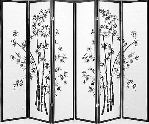 6 Panel Bamboo Screen Black
