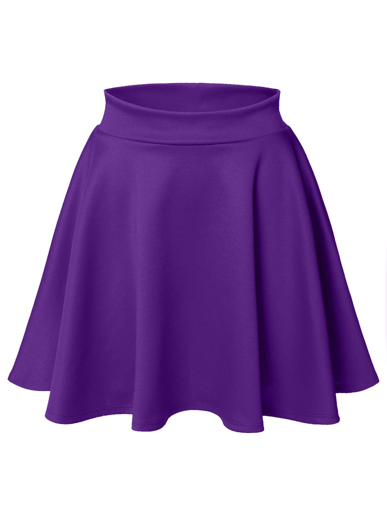 Luna Flower Women's Basic Versatile Stretchy Flared Skater Skirt Dark_Purple Small (LFWSK0009)
