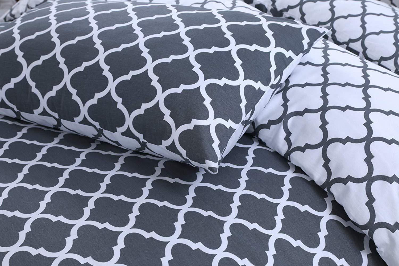 con Motivo a Picche Indus Textiles Set Copripiumino Reversibile in 100/% Puro Cotone Grigio Scuro