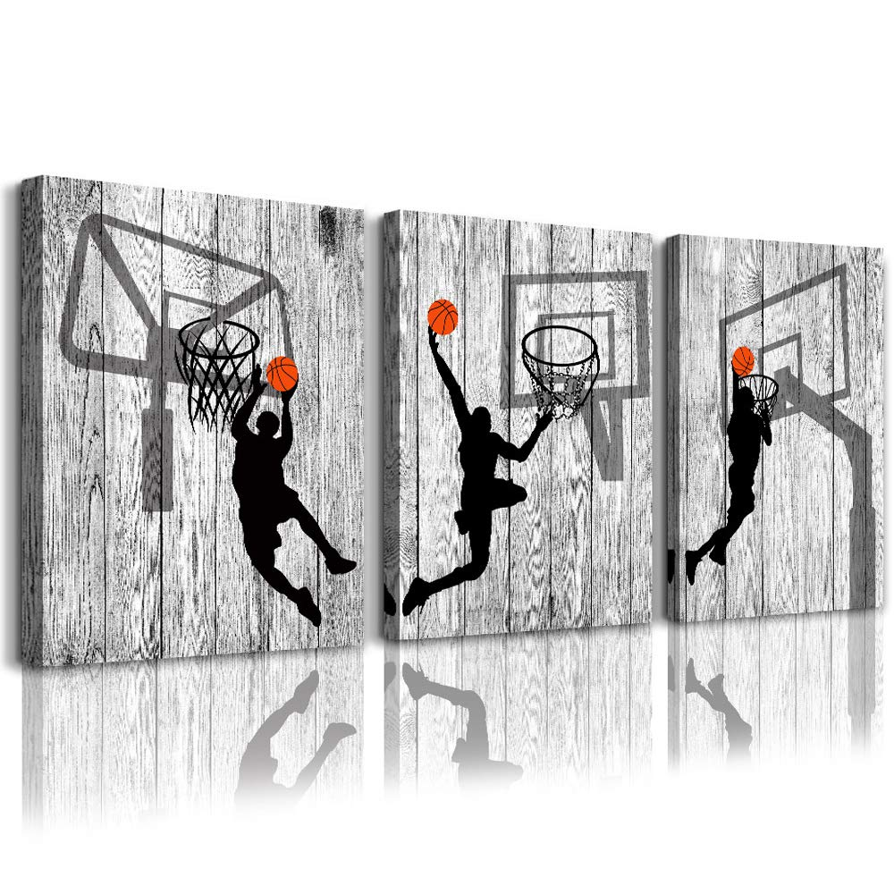 """Black and white Canvas Wall Art Decor for living room bathroom and bedroom kitchen artwork Canvas Prints play basketball sport painting 12"""" x 16""""3spell Wood grain Modern framed office Home decorations"""