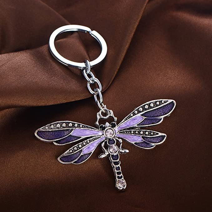 Amazon.com: Llavero de plata con diseño de libélula, hecho a ...