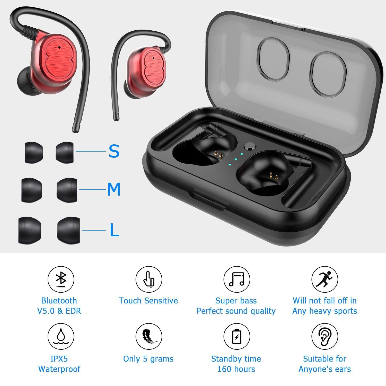 Peyou Auriculares Inalambricos Bluetooth 5.0, PEMOTech Auricular Inalámbrico Manos Libres [450mA Caja de Carga Portátil, IPX5 Impermeables, Cancelación de ...