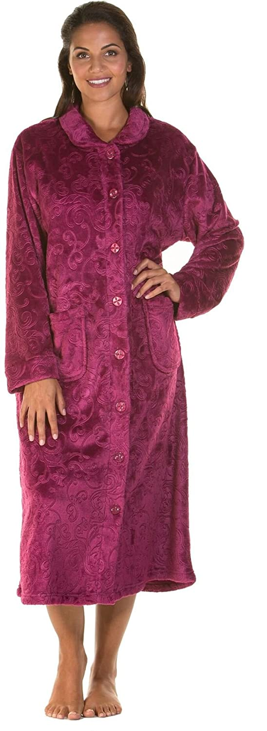 Lady Olga Soft Feel Embossed Fleece Nightwear In 3 Styles Zip Gown