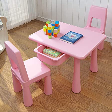 Zh Petite Table Carree Et Chaise Pour Enfants Avec Rangement Pour Tiroir Ensemble Table Et Chaises Bleu Et Rose Table D Activite En Plastique Pour Tout Petit Amazon Fr Cuisine Maison