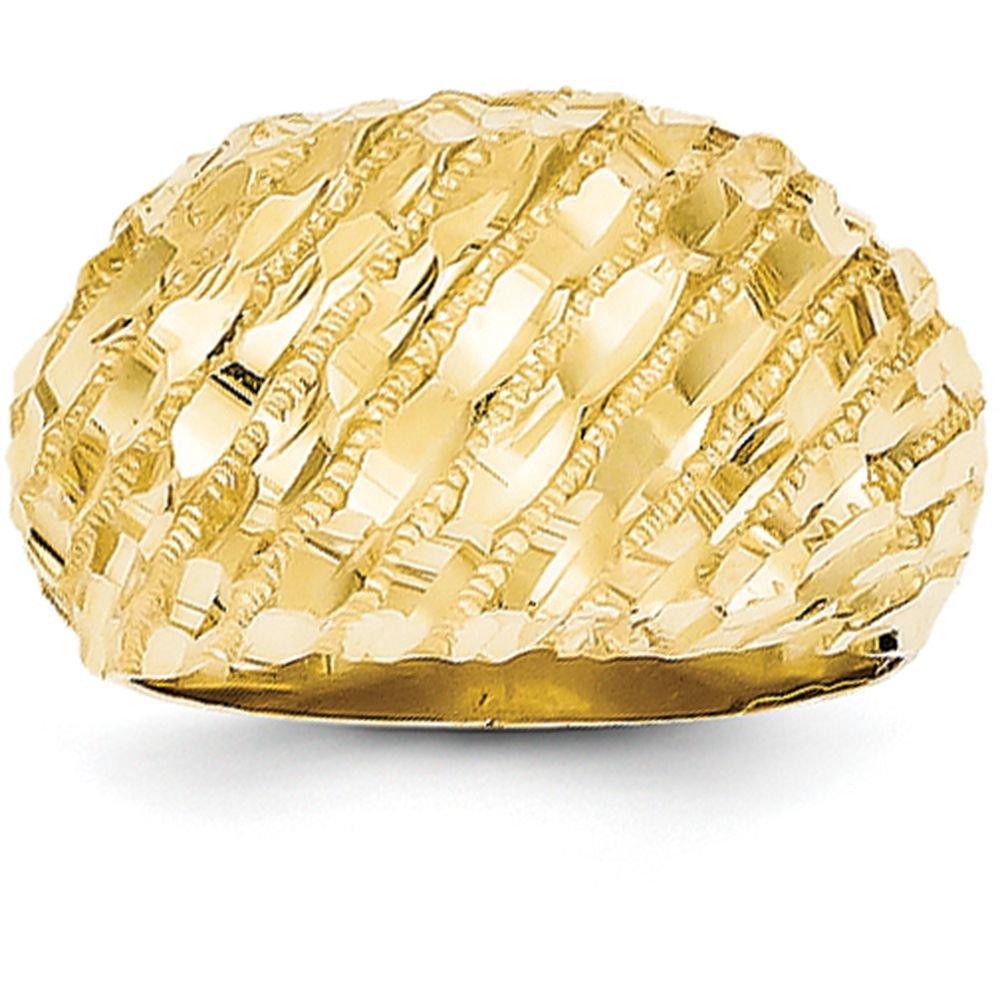 14k Yellow Gold Diamond-Cut Dome Ring (12mm Width) - Size 10