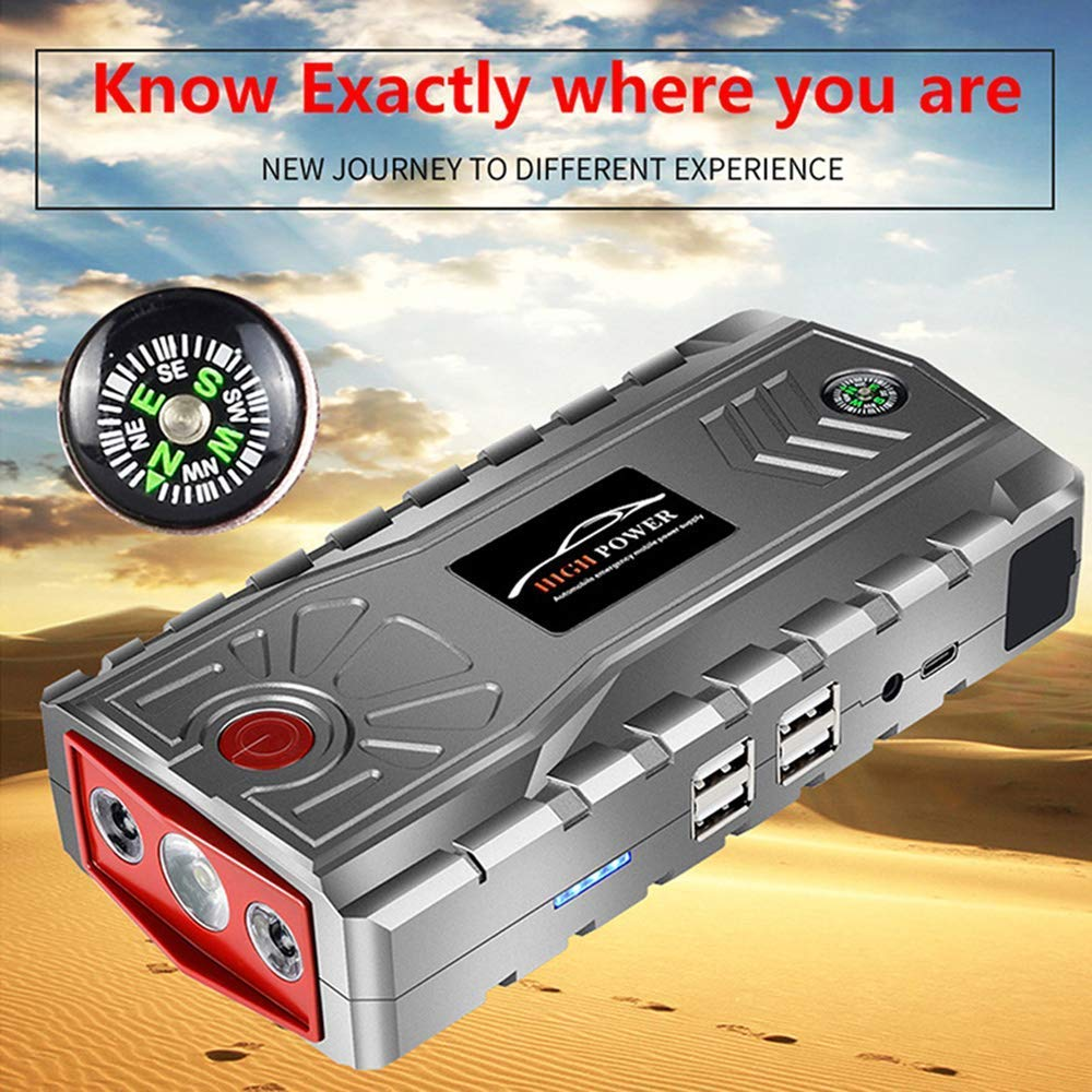 PBQWER Car Emergency Jump Starter 600A 19000Mah Paquete De Refuerzo De Bater/ía De Emergencia con Doble Br/újula De Banco De Alimentaci/ón USB Y Linterna LED