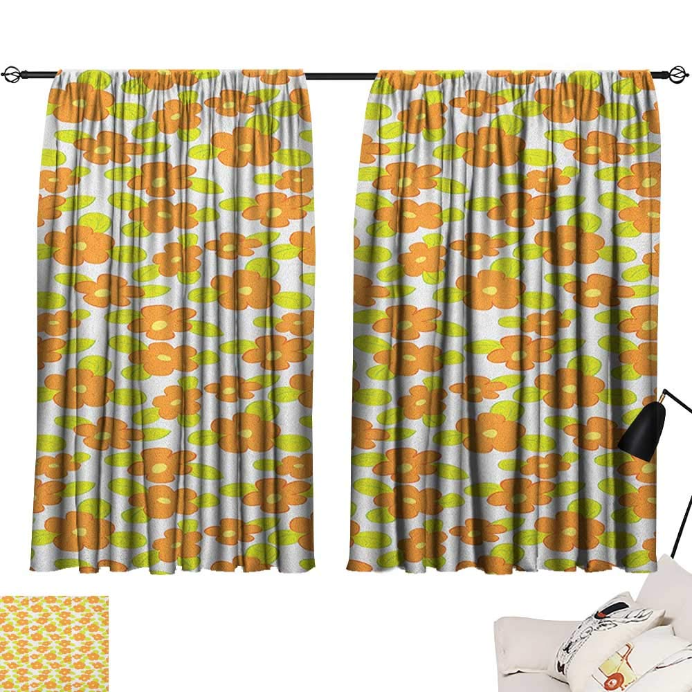 Pattern19 W63\ Beihai1Sun orange décor Darkening Curtains Kids Theme Cute Girlish Pattern with Doodle Flowers and Green Leaves Curtain for Kids Room orange Apple Green Yellow W63 x L45
