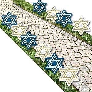 Big Dot of Happiness Happy Hanukkah - Star of David Lawn Decorations - Outdoor Chanukah Yard Decorations - 10 Piece
