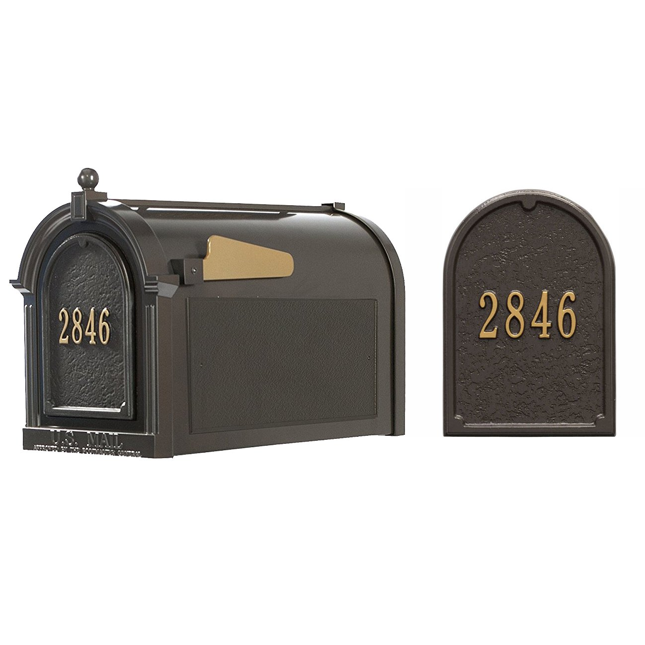 Whitehall Products 16306 Superior Mailbox Package,French Bronze Door plaque by Whitehall