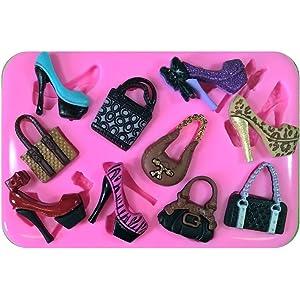 Bolsos y zapatos de estilete Lo que cada chica necesita Molde de silicona para la torta
