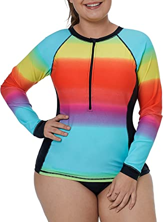 Plus Size Two Piece Long Sleeve Rash Guard Quick Dry Color Block Rainbow Stripes Printed Surfing Swimsuit Zip Front Bathing Suit Reasonable Price Sports & Entertainment