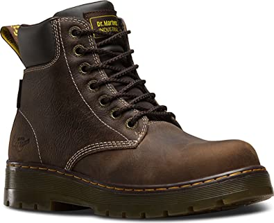 Dr. Martens Men's Winch Waterproof Slip Resistant NS 7 Eye Boots, Brown  Leather,