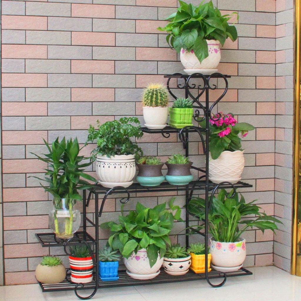 LIZX Iron Art Multi - Storey Flower Stand Balcony Indoor Rust - Proof Flower Pot Rack ( Color : Black )