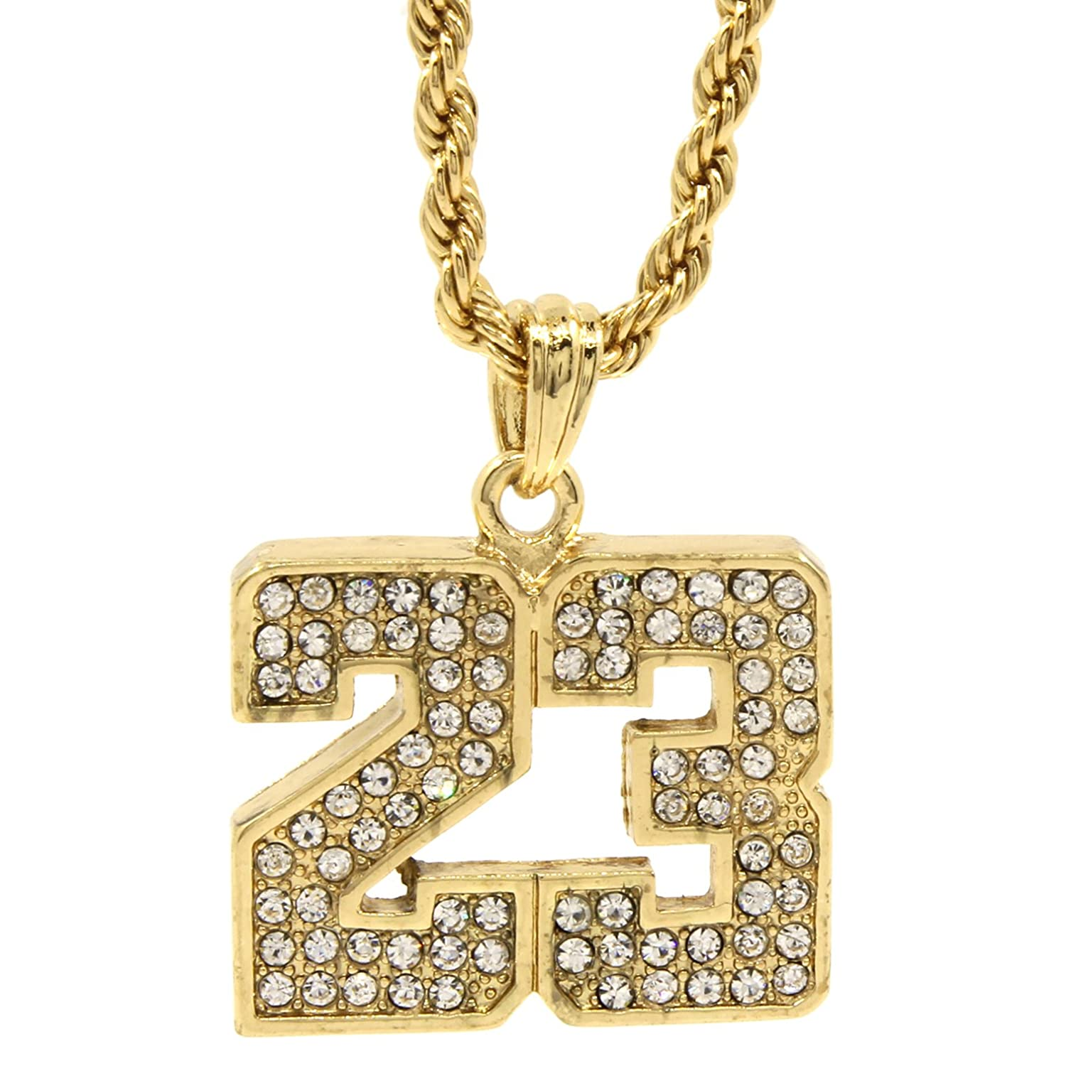 Mens 14k gold plated iced out 23 basketball pendant 24 rope mens 14k gold plated iced out 23 basketball pendant 24 rope chain hip hop necklace d472 amazon mozeypictures Images