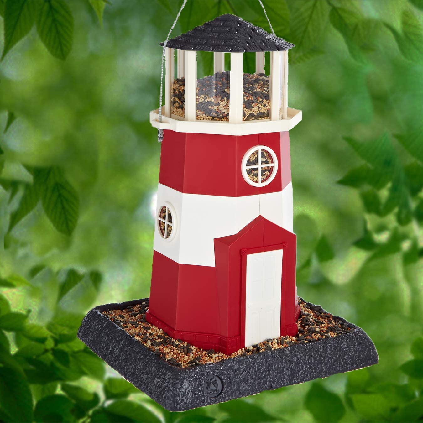 Shoreline Large Lighthouse Birdfeeder: Squirrel Proof Hanging Cable included, or Pole Mount (pole sold separately). Extra Large, 8 lb. Seed Capacity