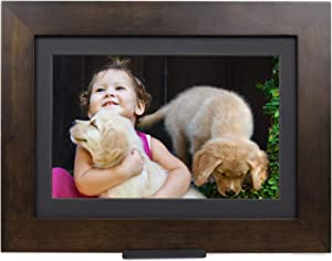 "Brookstone PhotoShare Smart Digital Picture Frame, WiFi, HD, Family Photo Album Slideshow, Tabletop End Table, Home Décor, 8"", Espresso"