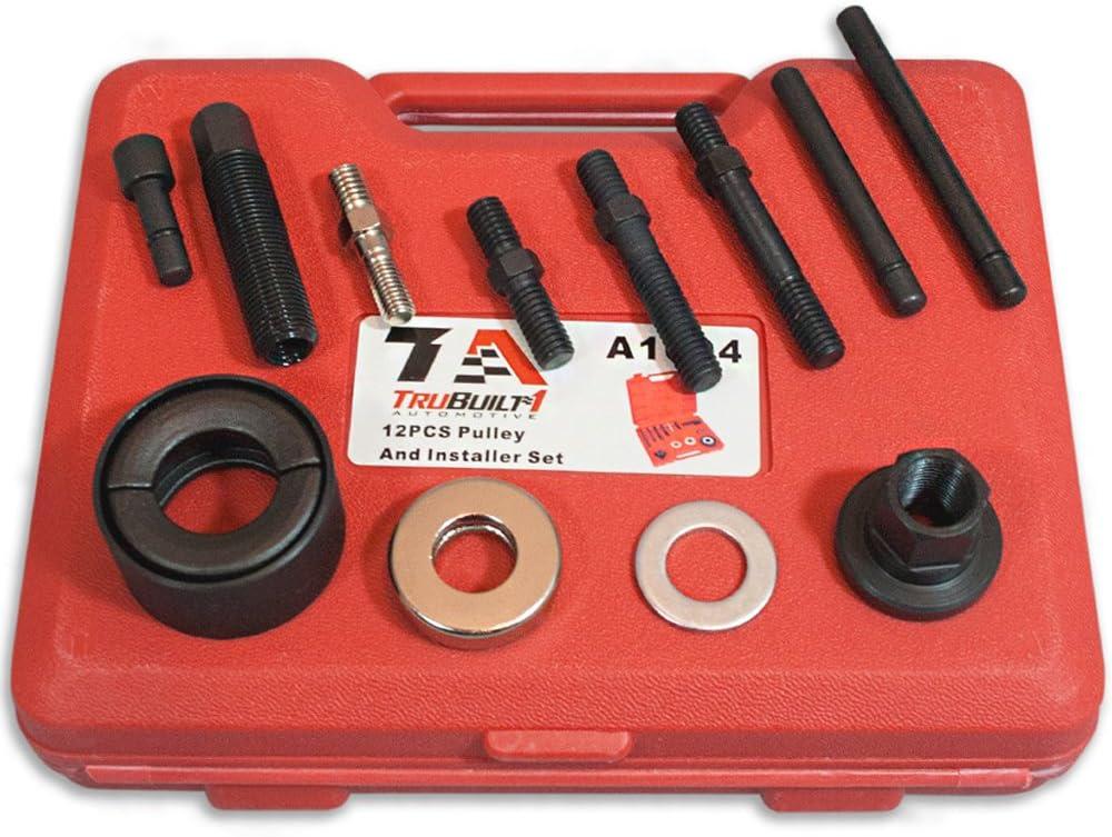 SUNROAD 12-Picece Pulley Puller Remover Installer Set Compatible for GM Chrysler Ford Engines Power Steering Alternators