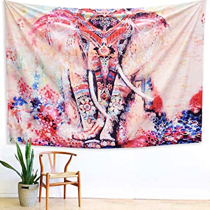 Arfbear Elephant Tapestry, Wall hangings Pink and Purple Hippie Trippy  Large tablecloths Wall Tapestry for Bedroom 59x83.9inches