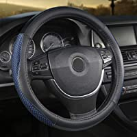 Giant Panda PVC Soft Leather Steering Wheel Cover with Breathable Mesh, 15 Inches Universal, Black and Blue