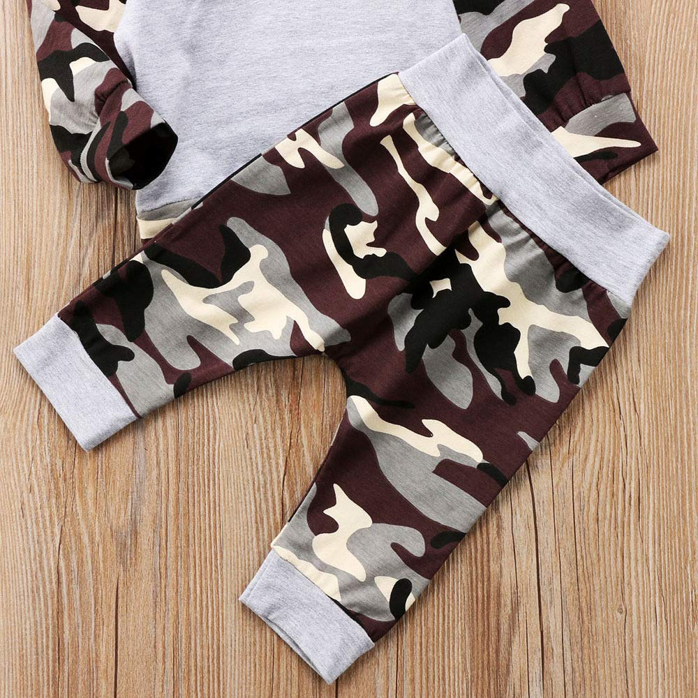 i-Auto Time Newborn Baby Boy Girl Clothes Camouflage Hoodie Tops+Pants Outfits Set