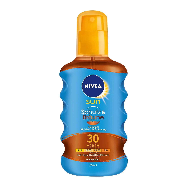 NIVEA SUN Sonnenöl-Spray mit Bräunungs-Aktivierung, Lichtschutzfaktor 30, 200 ml Sprühflasche, Schutz & Bräune