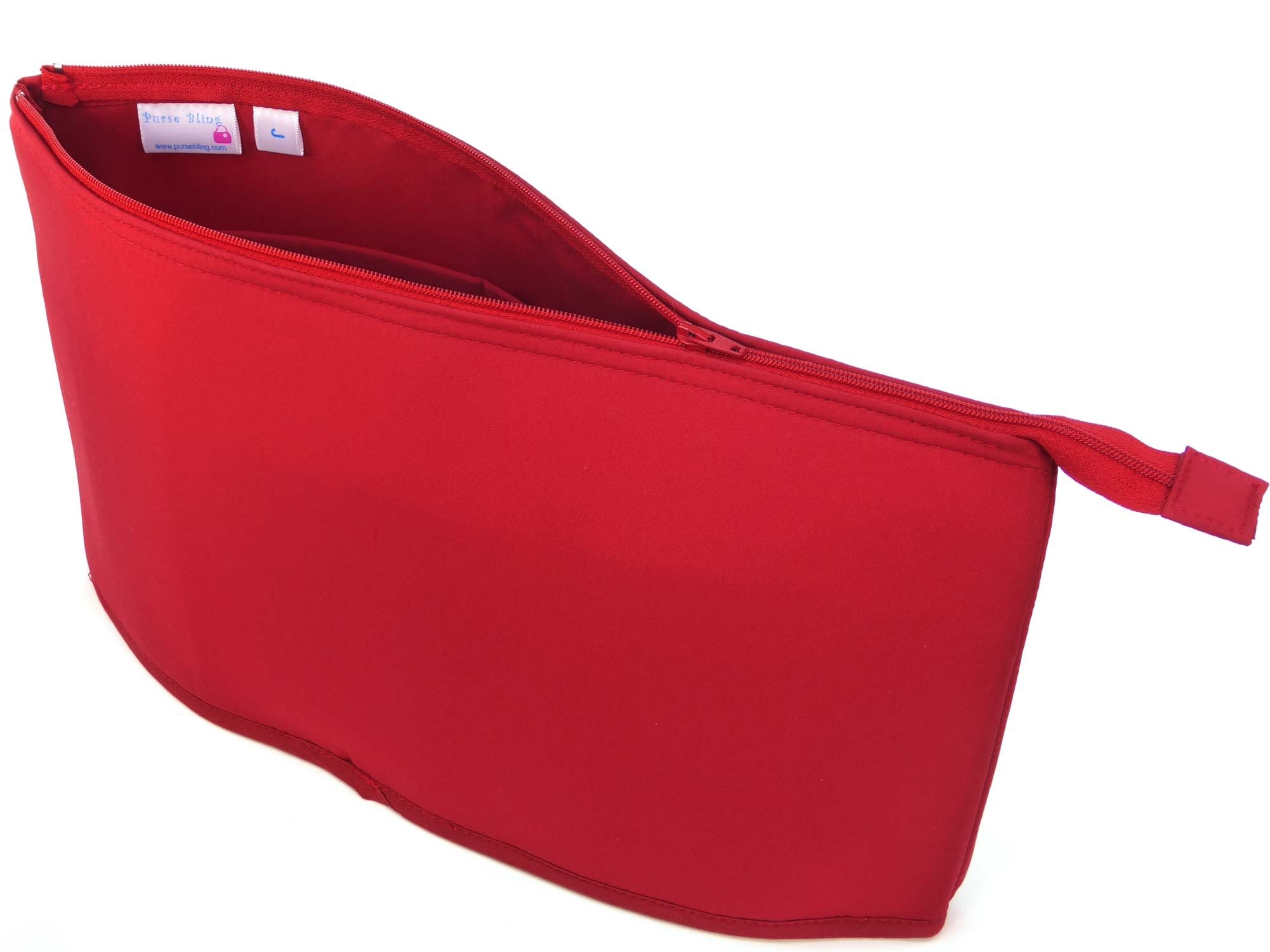 Purse Bling ''Purse To Go'' Style Organizer Insert with Zipper - Extra Jumbo-Red