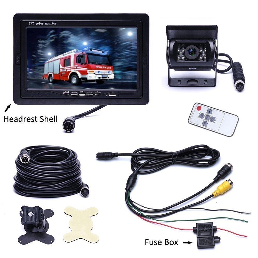 c/ámara de visi/ón trasera Visi/ón nocturna para RV // Bus // Caravana // Camper Sin l/ínea de distancia Camecho Car Backup System 7 TFT monitor