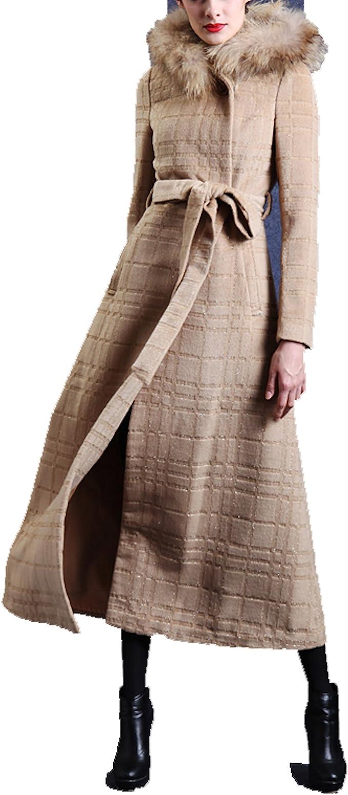 Frau Mantel langen Mantel mit Kapuze Frau in der Kamelwolle (11