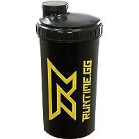 Runtime Shaker pour protéines | Gourde Sport pour la nutrition et le fitness | Contenance 700 ml | avec tamis - 100% hermétique | sans bisphénol A - avec échelle de mesure (Black Yellow)
