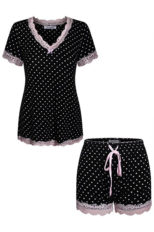 Sofie Pj Women's Rayon Spandex Printed Scoop Neck Short Sleepwear Pajama Set With Short Sleeve Short Pants And Satin Trim by Sofie Pj