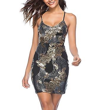 Abendkleider Damen Festlich Elegant Pailletten Kleid Kurz Sommer V