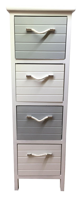 Slim Wooden 4 Drawer Storage Unit Cabinet Bedside Bathroom Furniture H&S