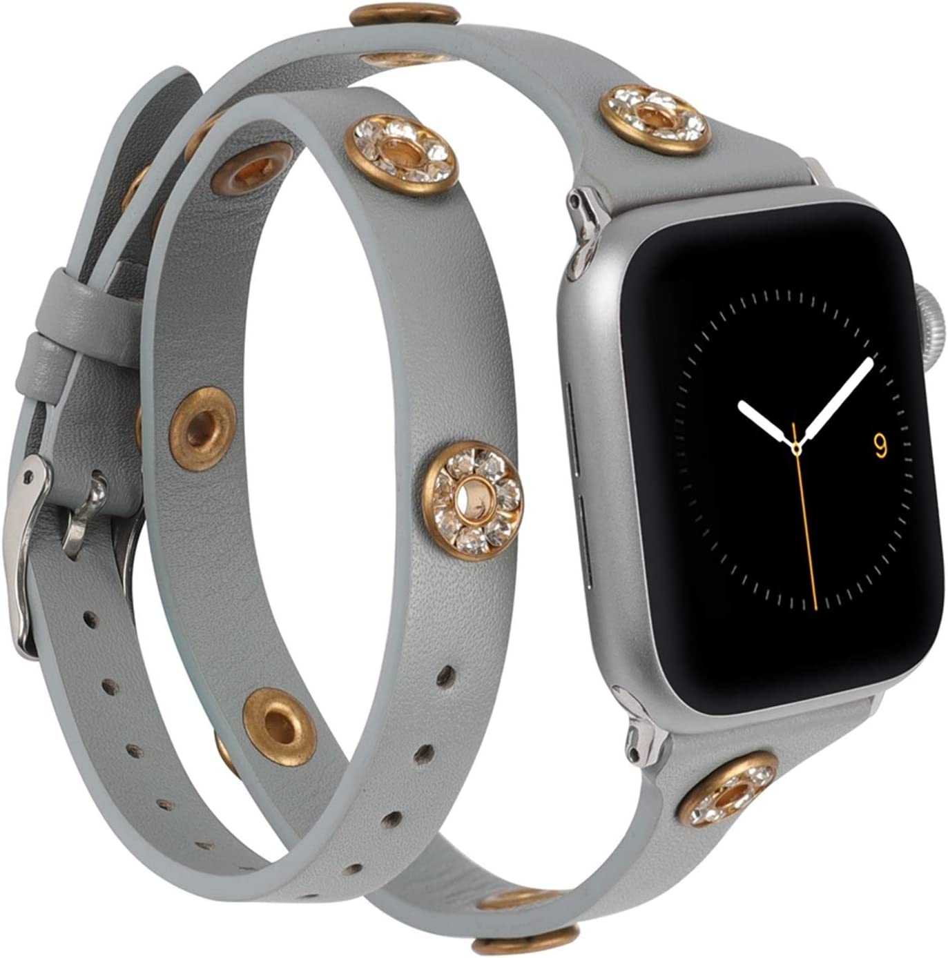Moolia Compatible with Apple Watch Bands 40mm 38mm Women, Slim Double Wrap iWatch Bands with Bling Studs Straps Bracelet Accesssories for Apple Watch Band Series 6/SE/5/4/3/2/1, Gray
