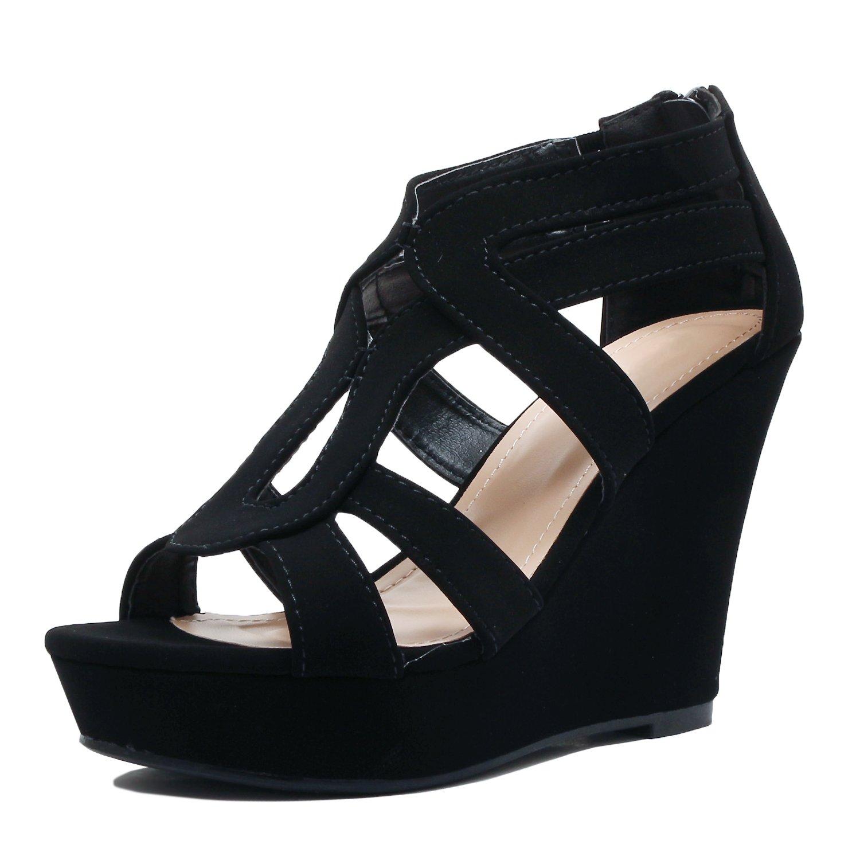 Guilty Shoes Womens Gladiator Strappy Buckles - High Heel Platform Wedge Sandals (8 B(M) US, Blackv2 Pu)