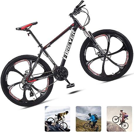 M-TOP 24 Bicicleta De Montaña Hombre Delantera Suspensión, Mountain Bike BTT De Carbono Acero con Freno De Disco Mecánico,Rojo,30 Speed: Amazon.es: Hogar