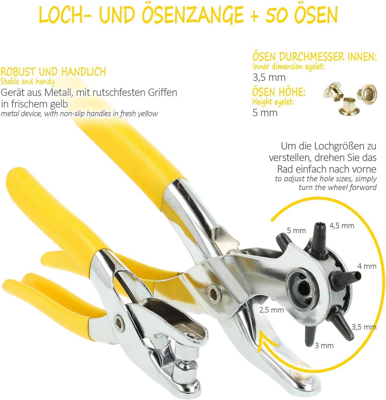 250 /Ösen-Set mit /Ösen 200 Sets 6 mm /Ösen 50 Sets 8 mm /Ösen Gun Metal 4 Farben mit 3 St/ück Montage-Werkzeug-Set f/ür Schuh- und Lederhandwerk
