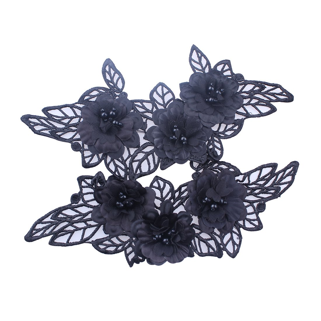 2pcs Embroidery Flower Patches Black 3D Lace Applique Collar Sewing On Craft (Style A) KimmyKu KM0296-1