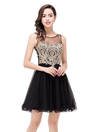 2016 Short Beading Open Back Satin Homecoming Dress Prom Gowns (Black,2)