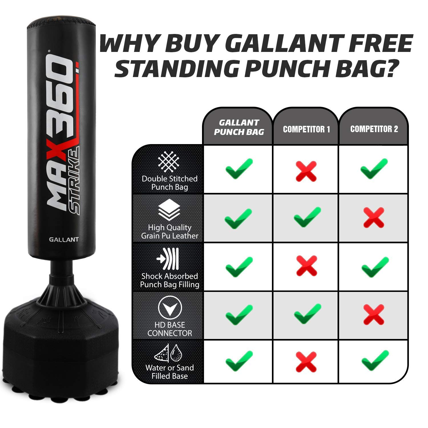 Gallant Target Free Standing Boxing Punch Bag Heavy Duty Training Punching Kick Martial Arts Gloves
