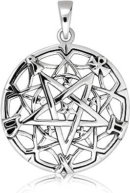 925 Sterling Silver Wicca Pentagramme Collier Pendentif Bijoux Art AA