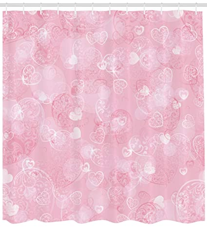 Ambesonne Light Pink Shower Curtain By Blurry Heart Icons With Flower Petals Inside Romantic Bridal