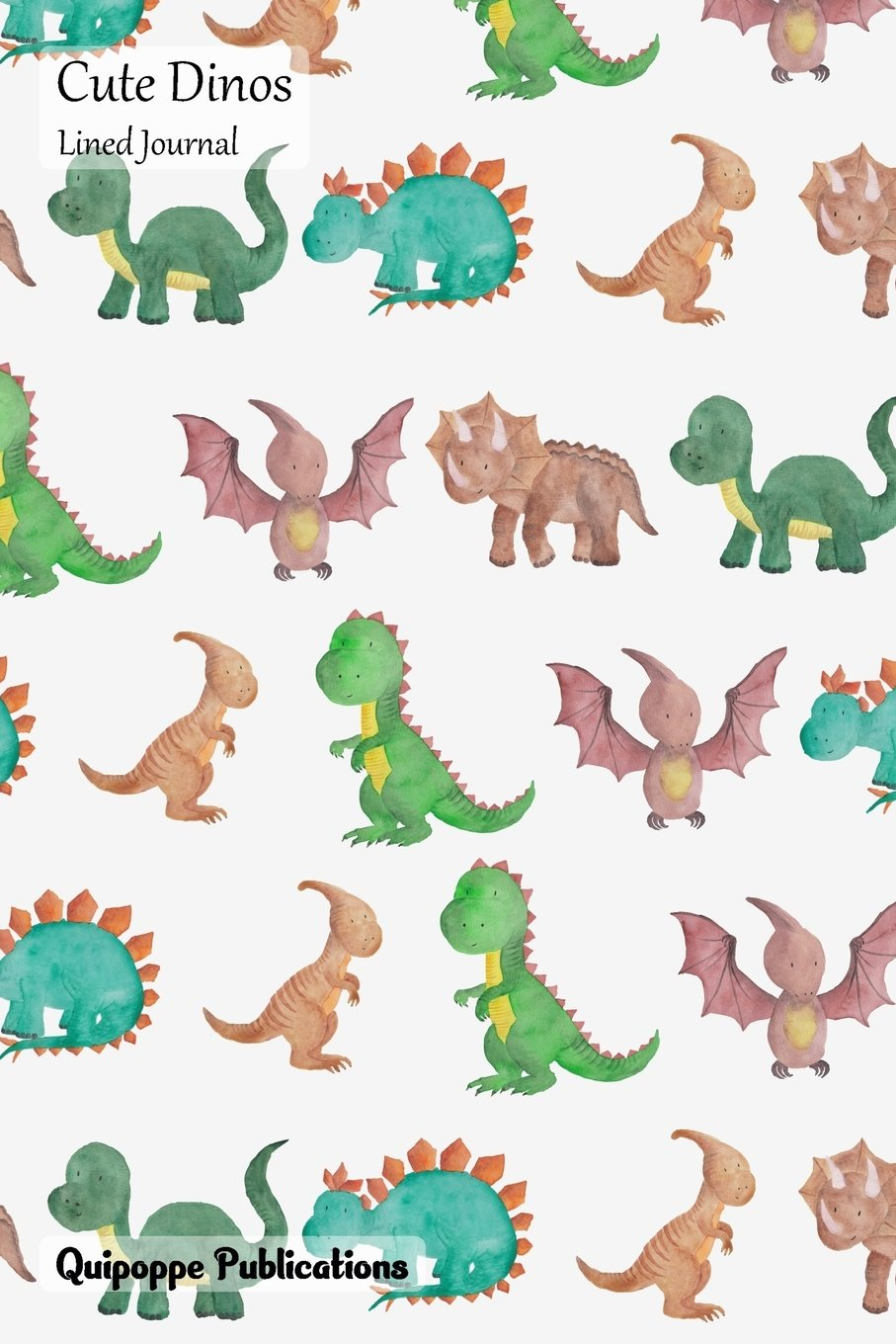 Cute Dinos Lined Journal: Medium Lined Journaling Notebook, Cute Dinos Watercolor Dinos Cover, 6x9