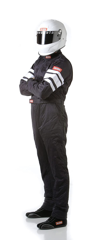 RaceQuip 110008 110 Series XXX-Large Black SFI 3.2A//1 Single Layer One-Piece Driving Suit
