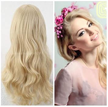 Cool2day Stylish Curly Hair pad Light Blonde wig Cospaly 70CM Young long Synthetic Hair Perruque peluca