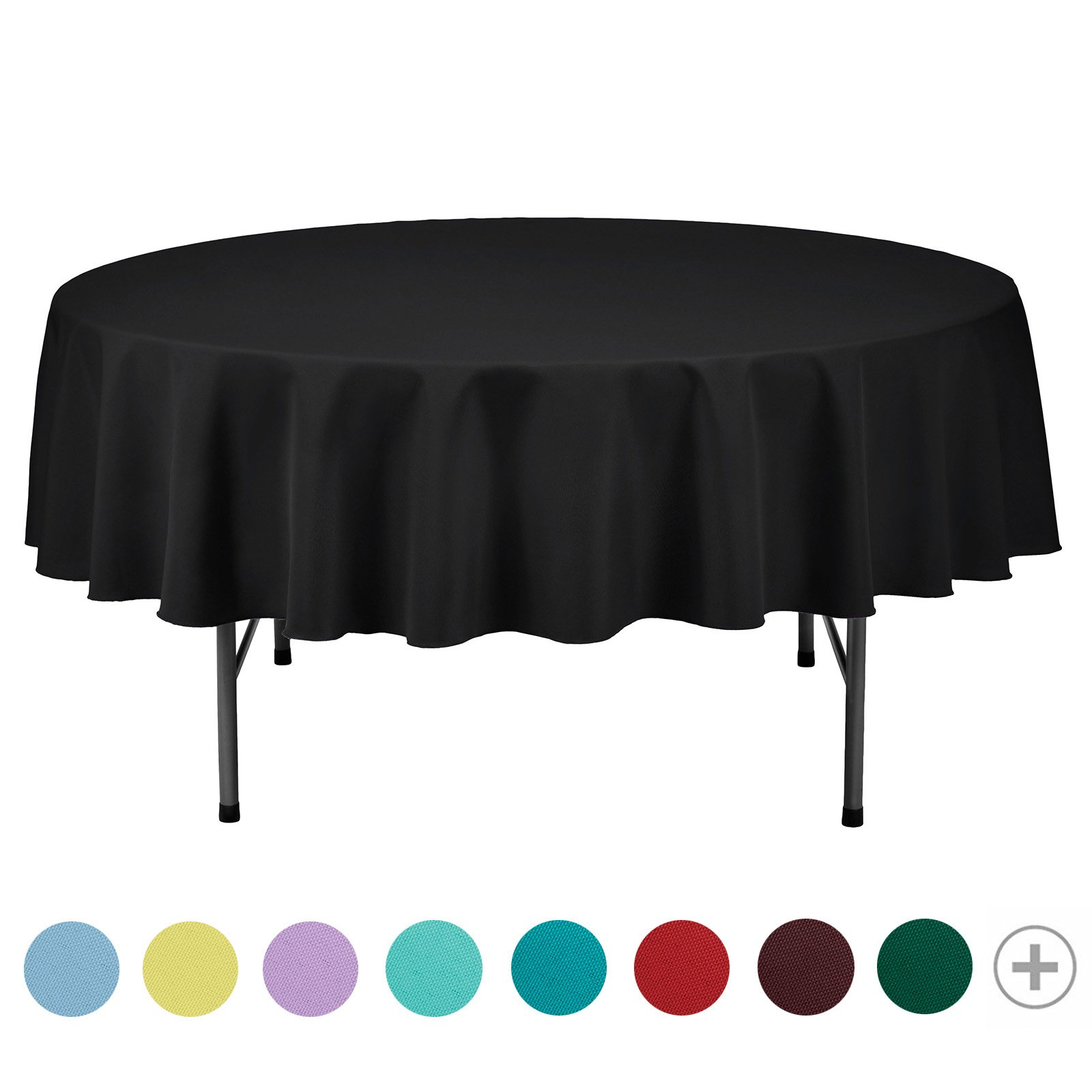 VEEYOO Tablecloth 70 inch Round Solid Polyester Table Cover for Wedding Restaurant Party Picnic Indoor Outdoor Use, Black
