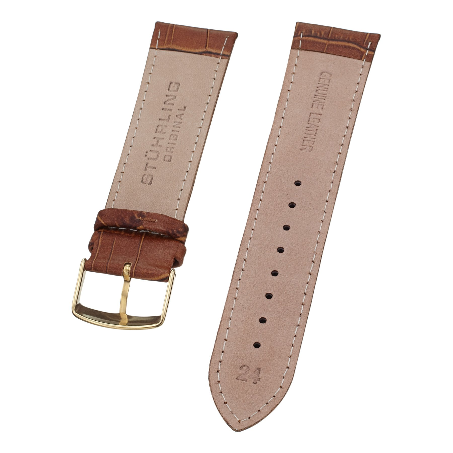 Stuhrling Original Mens 24mm light brown leather watch strap with gold tone buckle st.107BG.3335T2