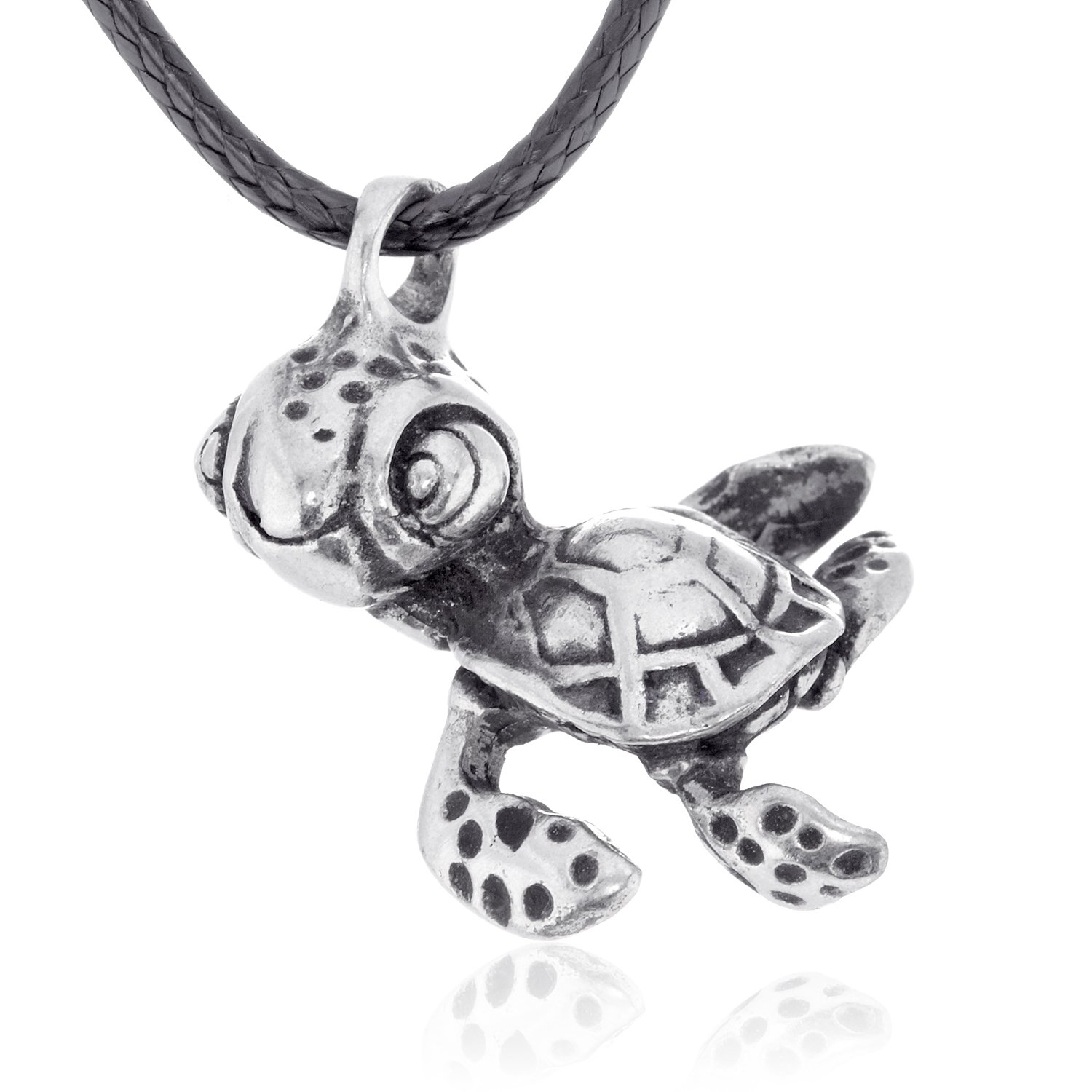 Dan's Jewelers Cute Baby Sea Turtle Pendant Necklace + Silver Plated Clasp, Fine Pewter Jewelry